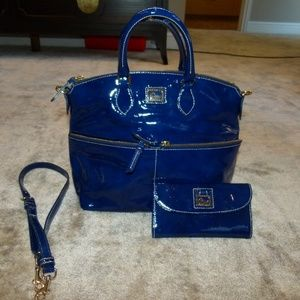 Dooney Bourke blue patent bag & wallet